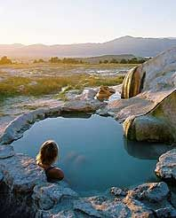 Travertine hot springs in California. John Lander photo.