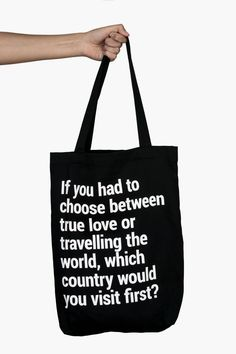 It's the best heavy-duty black cotton tote bag with a pocket, a lanyard, and a cool travel quote. Travel Tote, Travel Gifts, Cotton Tote Bags, Reusable Tote Bags, Best Tote Bags, Black Cotton, True Love, Travel Inspiration, Travelling