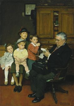 NORMAN ROCKWELL (American: 1894 - 1978) - WHEN THE DOCTOR TREATS YOUR CHILD (1939)