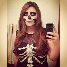 disfraz de halloween hecho a mano: esqueleto #halloween #disfraces #manualidades #diy #costumes #crafts #mujer #woman #adult #makeup #maquillaje #skeleton