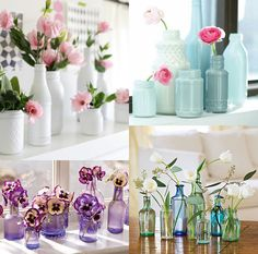 Small vases and flowers Wedding Centerpieces, Wedding Table, Wedding Decorations, Diy Wedding, Bottle Centerpieces, Artificial Flower Arrangements, Diy Bottle, Bottle Crafts, Decoration Table
