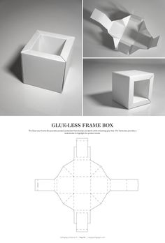 DIELINES II: The Designer s Book of Packaging Dielines Glue-Less Frame Box FREE resource for structural packaging design dielinesGlue-Less Frame Box FREE resource for structural packaging design dielines Packaging Box Design, Packaging Dielines, Box Packaging, Retail Packaging, Origami Paper, Diy Paper, Paper Crafts, Diy Gift Box, Diy Box