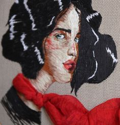 Illustrator and costume designer Ezgi Pamir uses thread to create exquisitely embroidered illustrations that extend beyond their hoop frame.