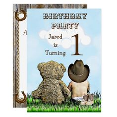 Lil' Cowboy and Teddy Bear First Birthday Party Invitation Creative Birthday Cards, Boys 1st Birthday Party Ideas, Cowboy Birthday Party, 1st Birthday Party Invitations, 1st Boy Birthday, First Birthday Parties, First Birthdays, Pirate Party, Happy Birthday