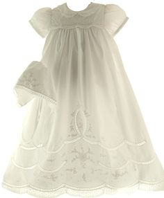 Baby Girls Baptism Gown with Lace Trim & Bonnet Set Feltman Brothers