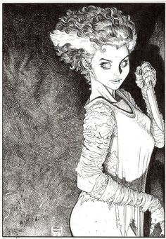 Bride of Frankenstein - Art Adams Comic Book Artists, Comic Artist, Comic Books Art, Arte Horror, Horror Art, Serpieri, Bristol Board, Bd Comics, Bride Of Frankenstein