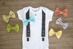 Little guy onesie - the suspenders hold his pants up. Notice the snap at the neck edge to hold a bowtie! Too cute. Makeit-loveit.com