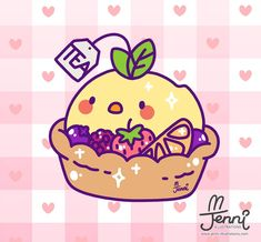 Tea bird fruit tart would go great with some Basket of Robins ice cream ! Kawaii Doodles, Kawaii Chibi, Cute Chibi, Kawaii Art, Kawaii Anime, Cute Animal Drawings Kawaii, Cartoon Drawings, Cute Drawings, Cute Wallpaper Backgrounds