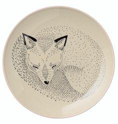 assiette renard en céramique