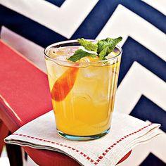 Bourbon-Peach Cocktail ~ (bourbon, peach schnapps, fresh lemon juice, demerara simple syrup, & club soda)