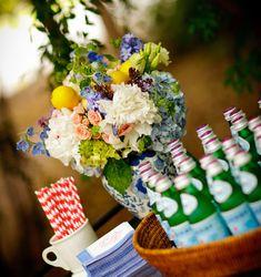 Garden party theme rustic drink table flower floral centerpiece on hwtm.com