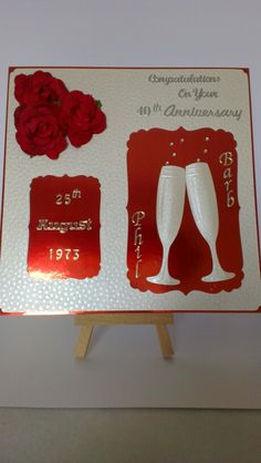 Ruby wedding card 40th Birthday Cards, Ruby Wedding, Paper Crafts, Diy Crafts, Handmade Cards, Wedding Cards, Anniversary, Craft Cards, Wedding Ecards