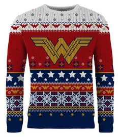 Wonder Woman: Winter Wonder-land Knitted Christmas Sweater wonder woman holiday sweater - Woman Knitwear and Sweaters Red Christmas Jumper, Ugly Christmas Sweater Women, Christmas Jumpers, Ugly Sweater, Winter Christmas, Christmas Tops, Retro Christmas, Holiday Fun, Christmas Gifts