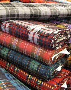 Beautiful bolts of Tartan ~ Britex Fabrics, San Francisco. My FAVORITE fabric store! Motif Tartan, Tartan Fabric, Scottish Plaid, Scottish Tartans, Scottish Heather, Harris Tweed, Textiles, Laine Rowan, Tartan Fashion