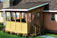 This three season porch offers sheltered outdoor living space that can be enjoyed throughout much of the year. A pitch roof attaches to the side or roof of the house. Screened In Porch Plans, Back Porches, Decks And Porches, Porch Railing Designs, Screened Porch Designs, Porch Railings, Deck Building Plans, Building A Porch, Home Porch