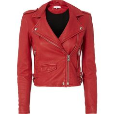 Ashville Red Cropped Leather Jacket (4.645 RON) ❤ liked on Polyvore featuring outerwear, jackets, red, leather moto jackets, red jacket, lined leather jacket, red motorcycle jacket and red cropped jacket
