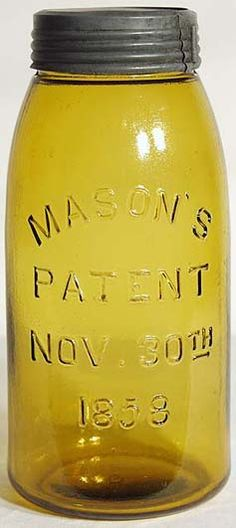 A bright yellow-amber colored 1858 half gallon with very bold embossing. Improved style mouth finish with a plain amber glass insert and excellent Bett's band. Beautiful condition and extremely heavy and sharp embossing. Antique Fruit Jar Hall of Fame Antique Bottles, Vintage Bottles, Bottles And Jars, Antique Glass, Vintage Glassware, Glass Bottles, Vintage Tableware, Vintage Pyrex, Vintage Perfume