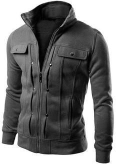 Mens Spring Zipper-Solid Pocket Design Sweatshirt