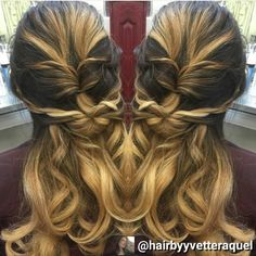 Half updo made with twisted ponytails