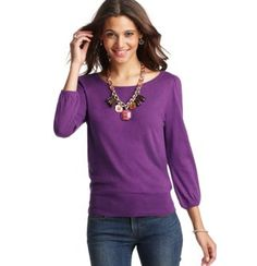 Button Back 3/4 Sleeve Sweater
