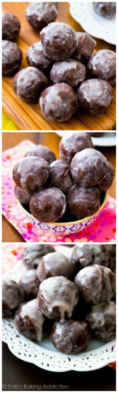Bakery-Style Chocolate Donut Holes, baked not fried, and thickly covered in a sweet glaze. She says they are simple.I do love some chocolate donut holes! Köstliche Desserts, Delicious Desserts, Dessert Recipes, Yummy Food, Dessert Blog, Delicious Donuts, Donut Recipes, Baking Recipes, Cake Pop Maker