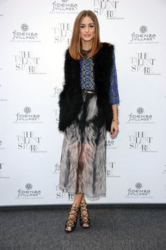 Olivia Palermo, fall, fall style, maxi, fur, vest, stunning, shoes, lace up, heels
