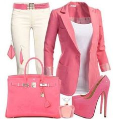 Pretty in pink work outfit! Shoes are kinda unrealistic, but worth it to look that good. Mode Style, Style Me, Pink Style, Casual Wear, Casual Outfits, Casual Blazer, Fashionable Outfits, Dress Casual, Formal Wear