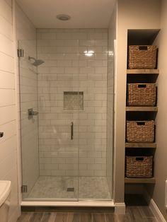 Modern Farmhouse, Rustic Modern, Classic, light and airy master bathroom design ideas. Bathroom makeover suggestions and master bathroom renovation ideas. Bathroom Design Small, Bathroom Layout, Bathroom Interior Design, Tile Layout, Small Bathroom Ideas, Bath Design, Bathroom Designs, Designs For Small Bathrooms, Small Full Bathroom