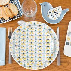 Assiette plate motif oiseaux en faïence D 27 cm PORTOBELLO | Maisons du Monde