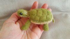 Needle Felted Turtle Miniature by minifeet on Etsy