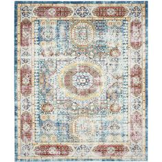 Safavieh Valencia Candence Blue/Multi Rectangular Indoor Machine-made Distressed Area Rug (Common: 9 x 12; Actual: 9-ft W x 12-ft L)