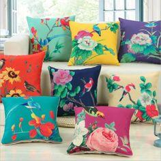 Fleur Oiseau Imprimé Coton Taie D'oreiller Décoration de La Maison Textile Art Artisanat De Voiture Canapé Housse de Coussin en Lin Tissu Carré Taie d'oreiller(China (Mainland))