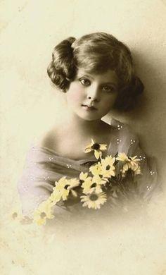 Vintage girl photo postcard