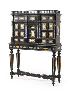 An Italian Baroque style hardstone, pietra paesina and gilt bronze-mounted ebonized cabinet on stand Florence, second half century height 68 in. width 51 in. depth 17 in. Cabinet Boxes, Italian Baroque, Baroque Fashion, Art Decor, Home Decor, Contemporary, Modern, Antique Furniture, Cupboards