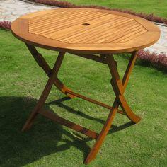 "International Caravan TT-RT-029 Royal Tahiti Outdoor 36"""" Round Wood Folding Table in Brown Stain"
