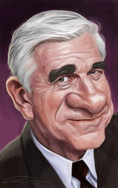 Caricature of Leslie Nielsen. Paited with photoshop over a pencil sketch. Funny Caricatures, Celebrity Caricatures, Celebrity Drawings, Cartoon Faces, Funny Faces, Cartoon Art, Caricature Artist, Caricature Drawing, Black And White Cartoon