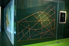 """Stick chart, Überseemuseum Bremen. Until WWII, stick charts were """"used by the Marshallese to navigate the Pacific Ocean by canoe off the coast of the Marshall Islands."""" The maps identified """"major ocean swell patterns and the ways the islands disrupted those patterns.... Stick charts were typically made from the midribs of coconut fronds tied together to form an open framework,"""" with islands represented by shells """"or by the lashed junction of two or more sticks."""" Caption at link"""