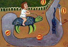 """""""En el parque"""" Acrílico / Papel. Artista : Carlos Osorio Granado"""
