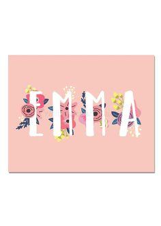 Items similar to Emma Baby Name Wall Art Emma Baby Name Sign Emma Party Printable Emma Party Decorations Emma Art on Etsy Baby Name Art, Cute Baby Names, Name Wall Art, Baby Name Signs, Baby Girl Names, Baby Presents, Baby Gifts, Name Decorations, Personalized Name Plates