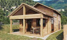 Casas de madera hasta 70 m2 - modelos y precios - Daype Gazebo, Outdoor Structures, Cabin, House Styles, Home Decor, Minimalist Home, Plywood, Home Plans, Concrete Roof Tiles