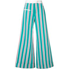 Rosie Assoulin Multicolor Striped Ribbon Pant (9.140 DKK) ❤ liked on Polyvore featuring pants, multi, striped pants, colorful wide leg pants, blue trousers, striped wide-leg pants and stripe pants