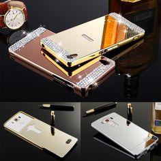 Luxury Slim Bling Mirror PC Back Cover Metal Bumper Frame Case For LG G3 G4 V10