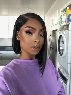 Gorgeous Bob Straight Hair with Perfect Makeup Malaysian Bob Straight Human Hair Lace Front Wigs Natural Black Frontal Hairstyles, Long Bob Hairstyles, Wig Hairstyles, Hairstyle Ideas, Hair Ideas, Black Girl Bob Hairstyles, Short Hairstyle, Bride Hairstyles, Vintage Hairstyles