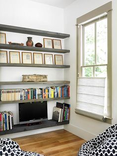 The slim shelving is perfect for a flat screen