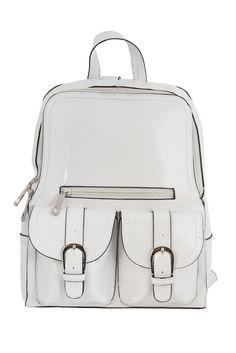 Mini White Vinyl Backpack