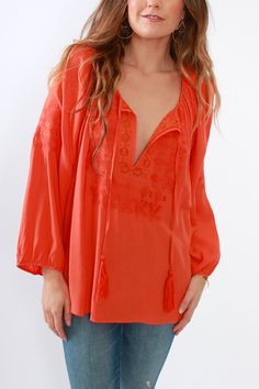 Renamed, Aztec Embroidered Top in Orange