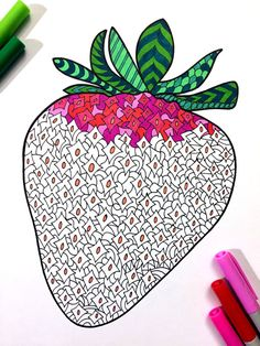 Strawberry  PDF Zentangle Coloring Page by DJPenscript on Etsy