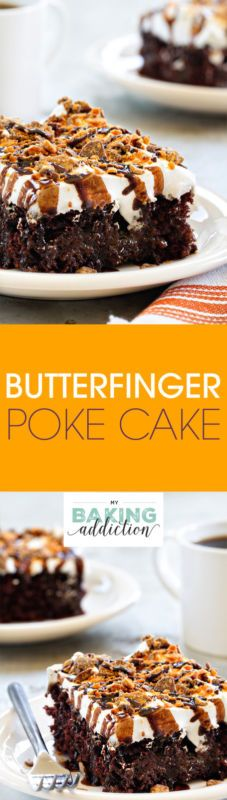 Butterfinger Poke Cake is easy, delicious and loaded with peanut buttery goodness! My family is obsessed with this recipe!