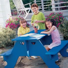 plans for kids' picnic table- pieces held together by interlocking slots, so it breaks down for storage or portability