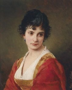 Portrait Of A Young Lady - Eugene de Blaas -  oil on canvas